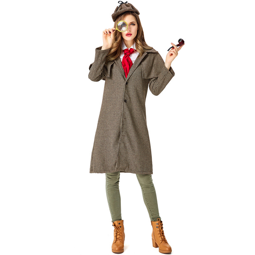 Adult Female Halloween Cosplay Costumes Detective Holmes Jacket Coat Party Show Carnival Festival Disfraz For Woman image