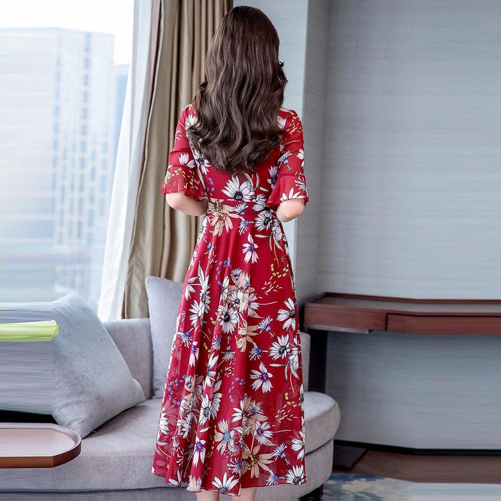 Print Boho Long V Neck Dress Summer Beach Maxi Dress Women Floral Dress Ruffles Wrap Casual