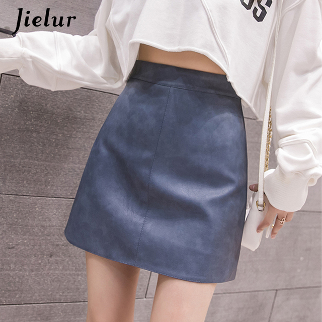 Jielur Leather Skirt Autumn Winter New Korean High Waist Mini Skirt Female 4 Colors Chic Black Sexy Saia A-line PU Skirts Women 3