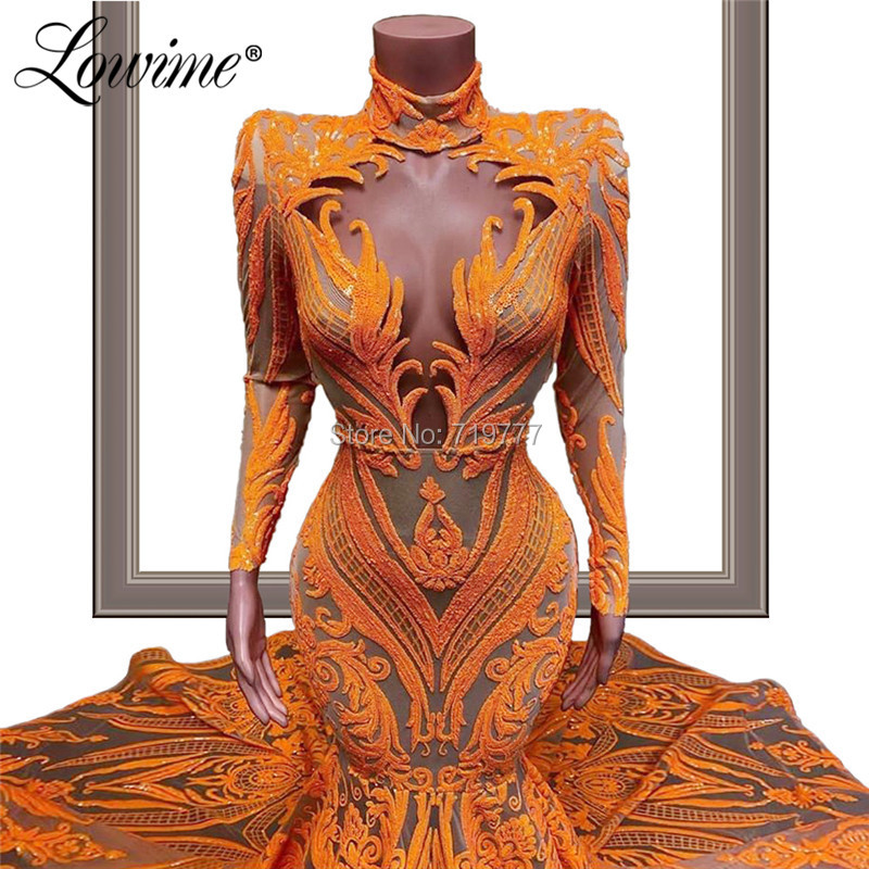 Image 3 - Robe Soiree Glitter Slim Mermaid Evening Dresses 2020 Couture Caftan Mariage Long Sleeves High Neck Arabic Dubai Party Gowns NewEvening Dresses   -