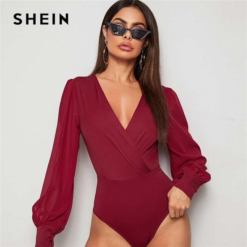 SHEIN Burgundy Solid Surplice Front Elegant Bodysuit Women Tops Spring Bishop Sleeve V Neck High Waist Ladies Shirt Bodysuits