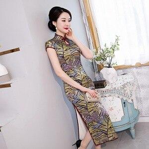 Image 1 - 2020 אביב חדש משי cheongsam ארוך יומי השתפר כבד משקל cheongsam שמלת תות משי cheongsam גבוהה כיתה