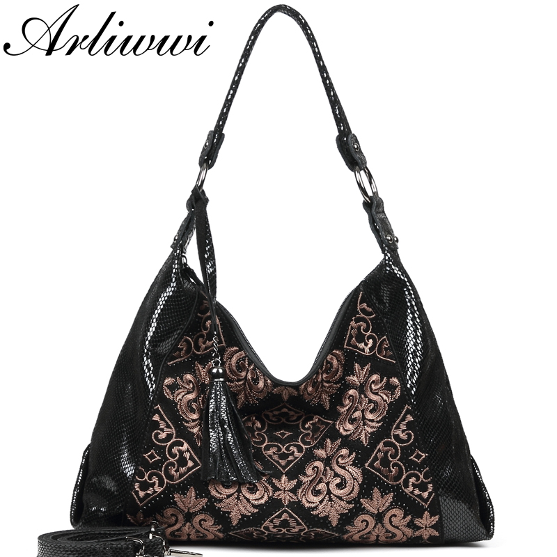 Arliwwi 100% Real Leather Women Vintage Embroidery Soft Hobos Bags Genuine Suede Leather Black Big Black Female Handbags New