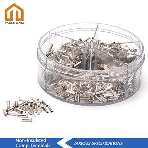 1900 sztuk nie izolowane złącze przewodu elektryczne zaciski kablowe okucia miedziane cynowane gołe zaciskane koniec rury 0.5-2.5 mm2