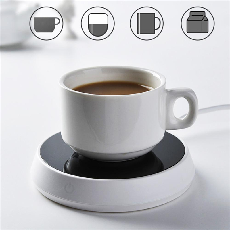 Constant Temperature Cup Mat Base 15W Pl Heating Two Gear Touch Button Non-hot Shell Portable EU Plug For Home Office Travel