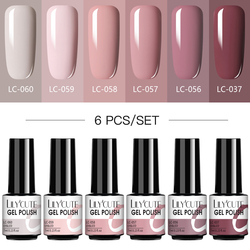 LILYCUTE 6/4Pcs Nail Gel Polish Set Semi Permanent Hybrid Gel Nail Varnish Base Top Coat Soak Off UV LED Nail Art Gel