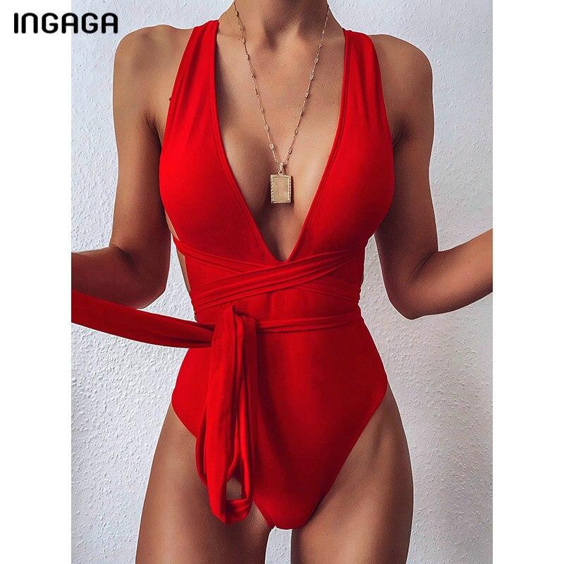 INGAGA 2020 Plunging Swimsuit One Piece High Cut Swimwear Women Cross Bandage Beachwear Summer Backless Bathing Suit Women-0