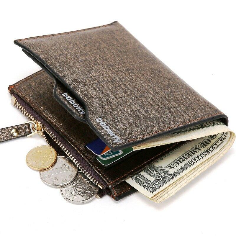 Hot Men Leather Wallet For Coin Pocket Wallet ID Card Holder Purse Clutch With Zipper Men Wallet Short Multi-function Card Bag