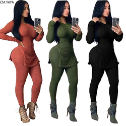 New Autumn Winter Women's Set Tracksuit O Neck Full Sleeve Top Pants Suit Two Piece set Knitting Solid Outfits Sporty GL8081