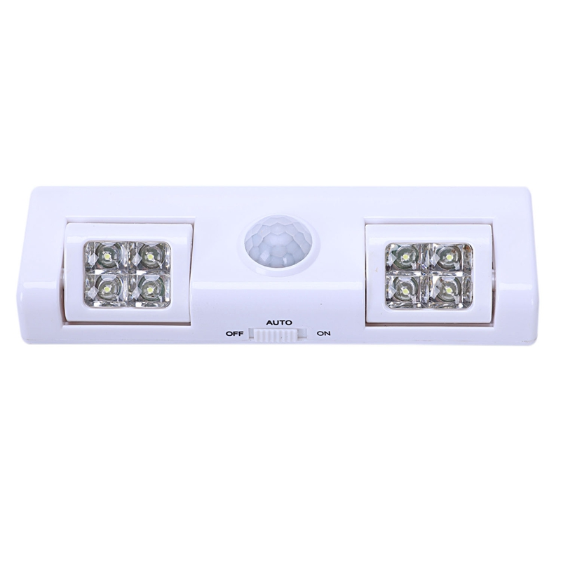Closet Light With 8 LED 90 Degree Rotation Battery Powered Wireless Motion Sensor Night Light For Cabinet, Bedroom, Drawer, Gara