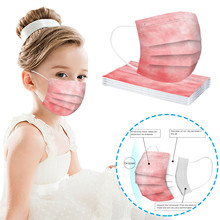 Kids Disposable Face-Masks Cover No-Decoration Protec Safe Dust-Proof Colored-Print 3ply