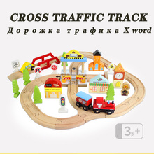Kids EMU Wooden Train Track Set Crossroads Traffic Railway Childrens Educational Assembled Toy