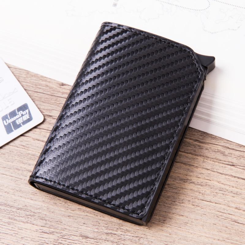 2019 Fashion Unisex Credit Card Holder RFID Aluminium New Business Card Holder Crazy Horse PU Leather Travel Card Wallet
