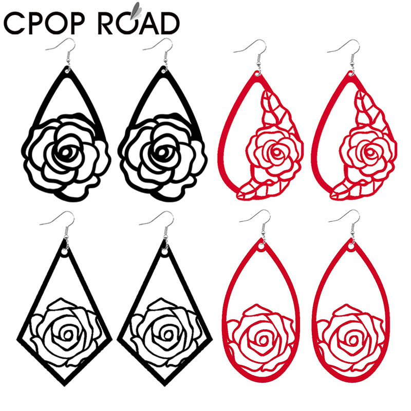 Cpop Hollow Rose Pattern Flower Print Velvet Leather Earrings For Women Statement Creative Designer Drop Earrings Multicolors