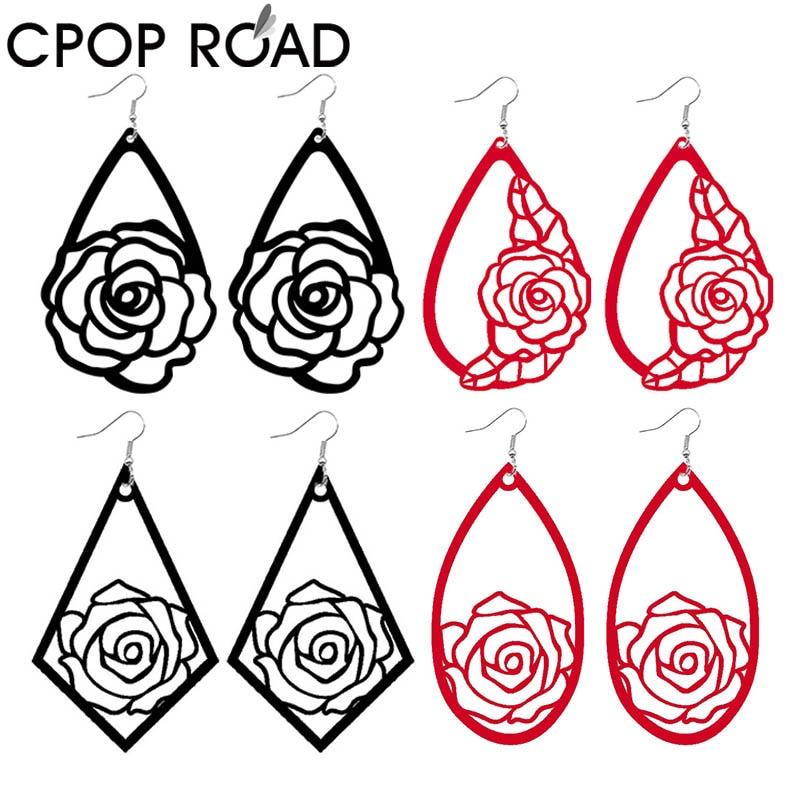 Cpop Hollow Rose Pattern Flower Print Velvet Leather Earrings For Women Statement Creative Designer Drop Earrings Multicolors