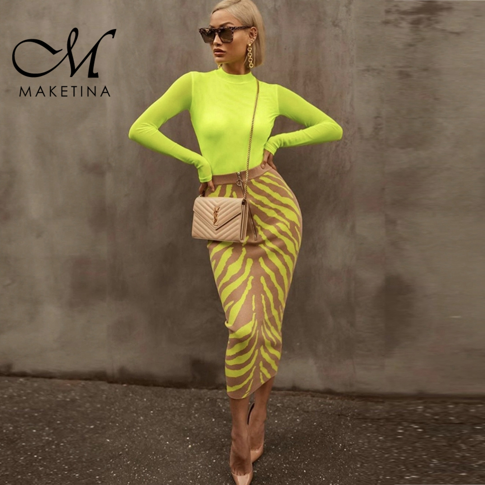 Maketina New Arrival 2020 Women Skirt Green High Waist Bandage Skirt Sexy Print Bodycon Bandage Skirt Midi Club Party Skirt