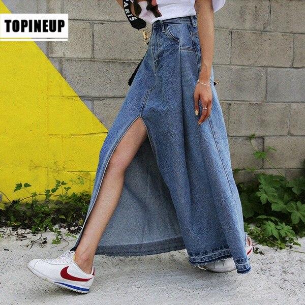 Tide Female High Waist Slim Denim Women Fashion Skirts 2020 Sexy Split Front Long Skirt Spring New Women Casual Skirt