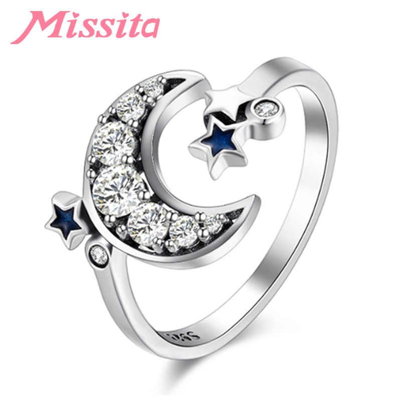 MISSITA 100%, новинка 2019, модные кольца с голубой звездой и прозрачной луной для женщин, серебряные ювелирные изделия, Брендовое обручальное кольцо на палец, горячая распродажа, подарок