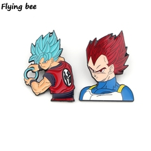 Flyingbee DRAGON BALL Cool Brooch and Pin Anime Enamel Pins Badges Lapel Brooches Badge for Friends Women Men X0432
