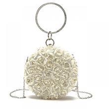 Shoulder-Bags Evening-Pouch Rhinestone Floral Round Elegant Female Fashion Ladies Party