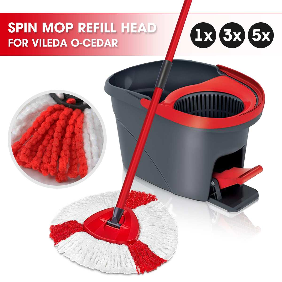 1/3/5pcs Spin Mop Replacement Head Made with Microfibre Pads for Vileda O-Cedar 1