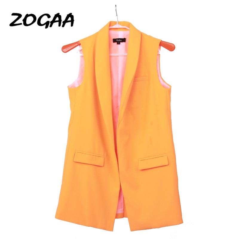 ZOGAA Classic Long Vest Women Elegant Suit Vest Spring Autumn Sleeveless Jackets Outerwear Office Lady Slim Waistcoat