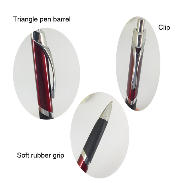 Fashionable Triangle Ballpoint Pen with Soft Rubber Grip Silver & Red Pen Retractable Press Push Writing Stationery Unisex Gifts 1