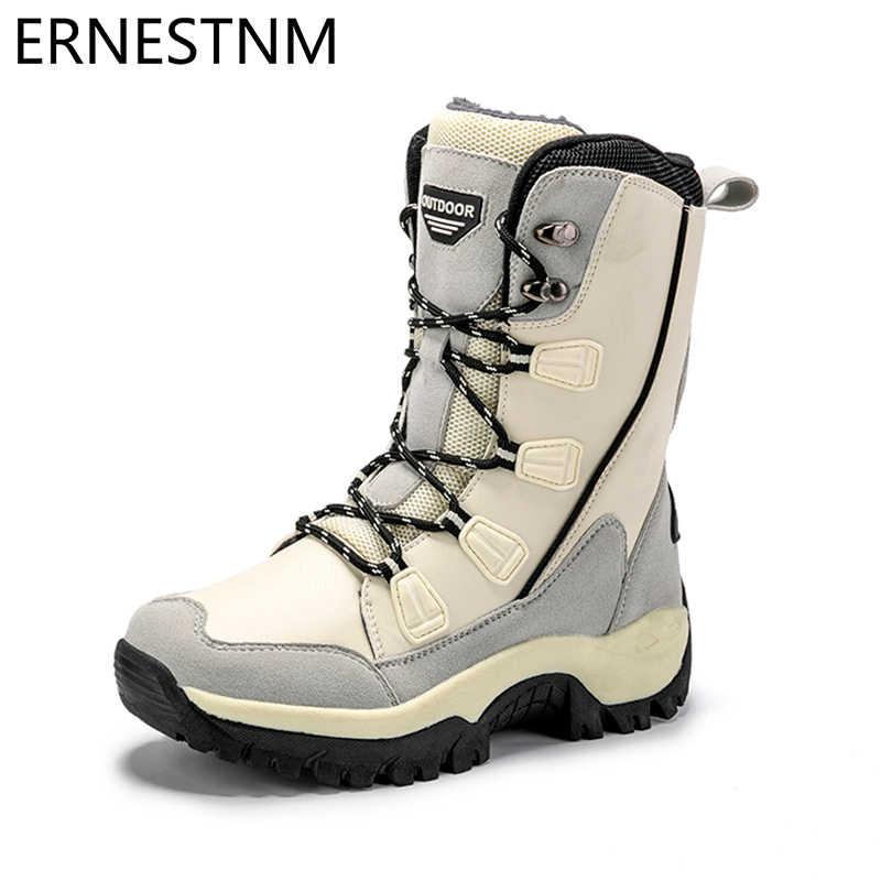 ERNESTNM รองเท้าผู้หญิงอบอุ่นฤดูหนาวกันน้ำ MID-CALF สุภาพสตรี Booties สีดำ PLUS ขนาด PU หนังรองเท้าผู้หญิง botas Mujer