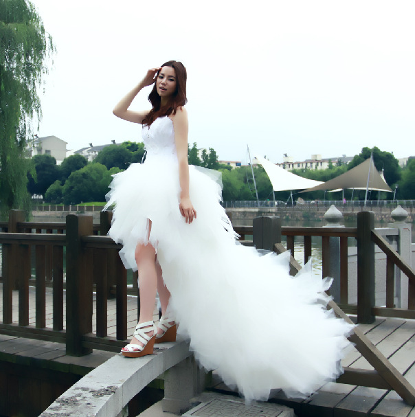Mrs Win Wedding Dress Eleant Feather Strapless Lace Up Princess Luxury Front Short Back Long Wedding Dresses Plus Size