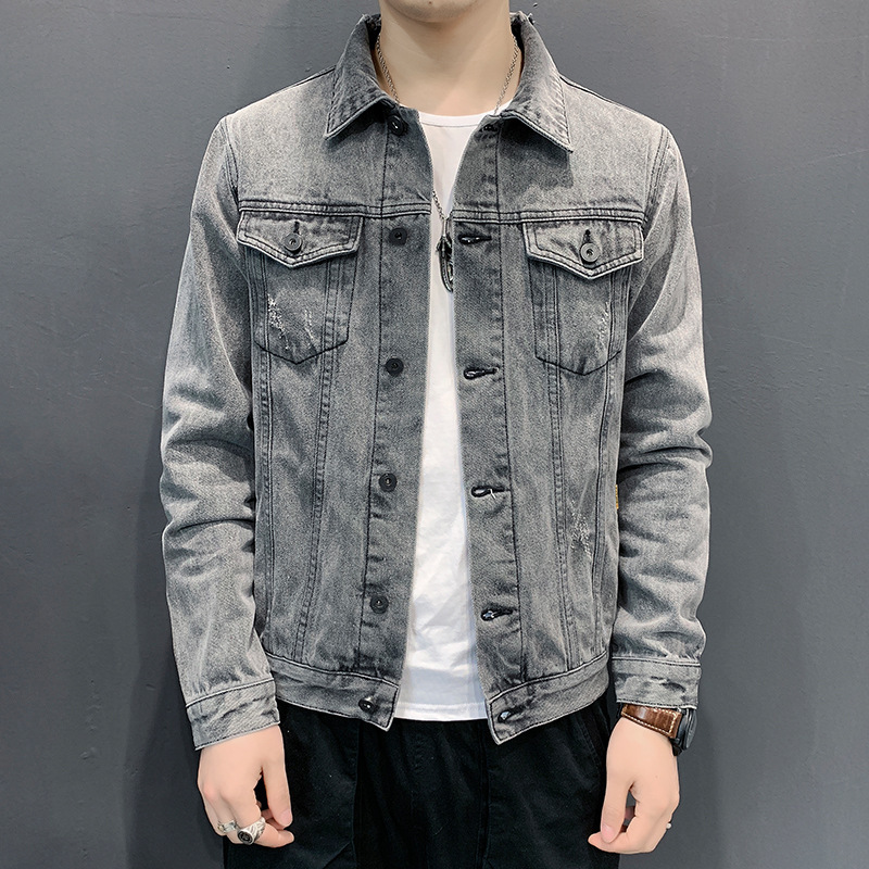 Men High Street Hole Ripped Denim Coat New Spring Casual Single Breasted Bomber College Cowboy Jacket Male Plus Size 5XL