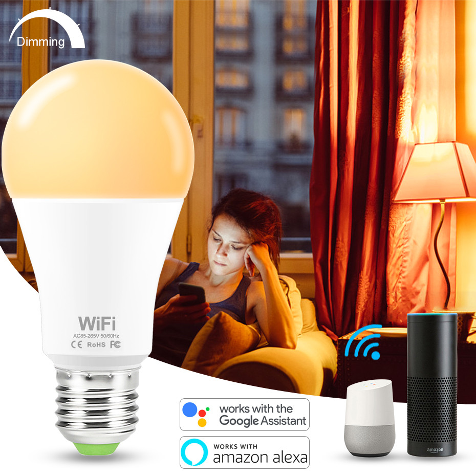 15W E27 Smart LED Bulb WIFI Control Equal To 100W Incandescent Lamp Warm Or Cool White Light Compatible Alexa And Google Home
