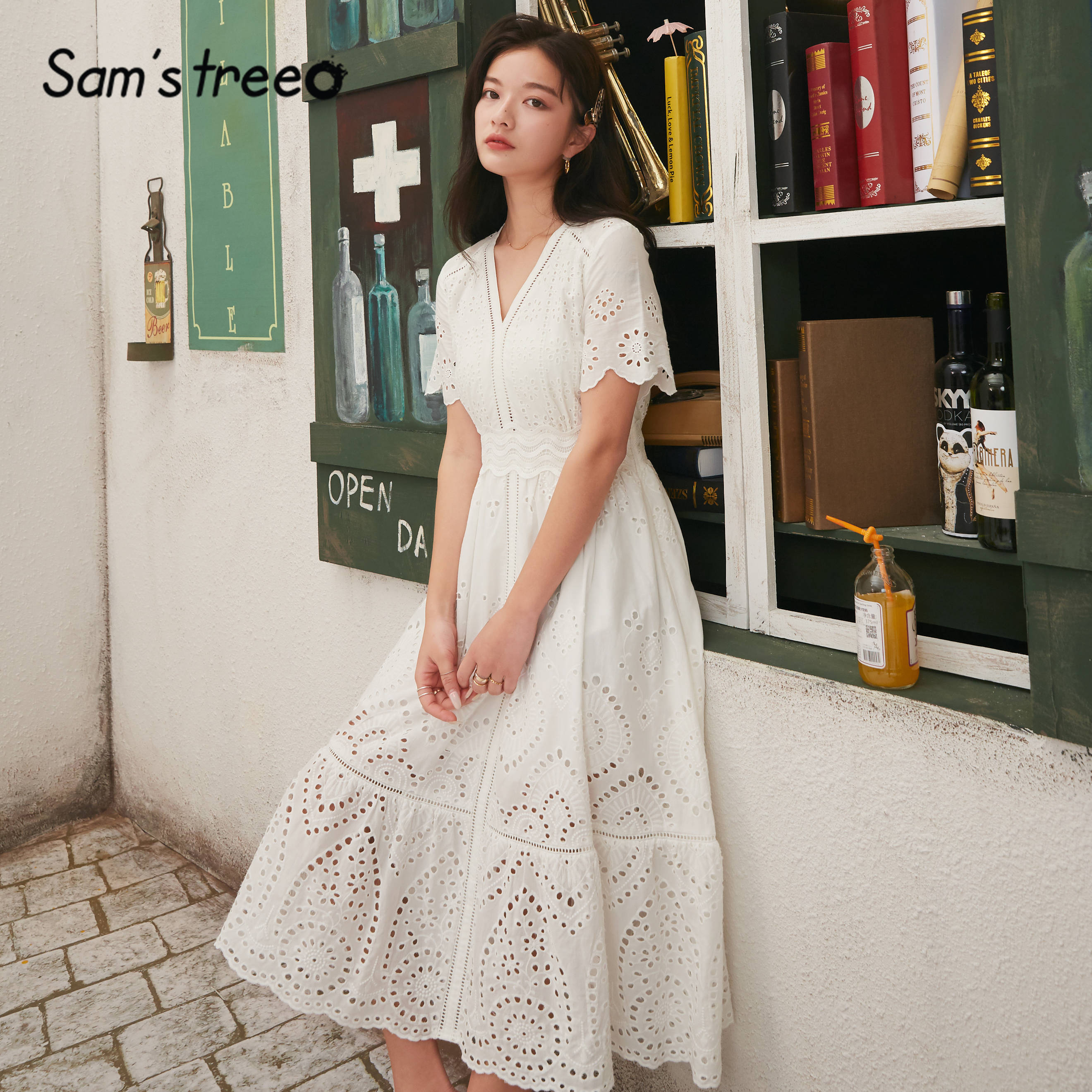 SAM'S TREE White Solid Contrast Lace Cut Out Casual Women Dresses 2020 Spring New Elastic Waist Short Sleeve Girly Holiday Dress