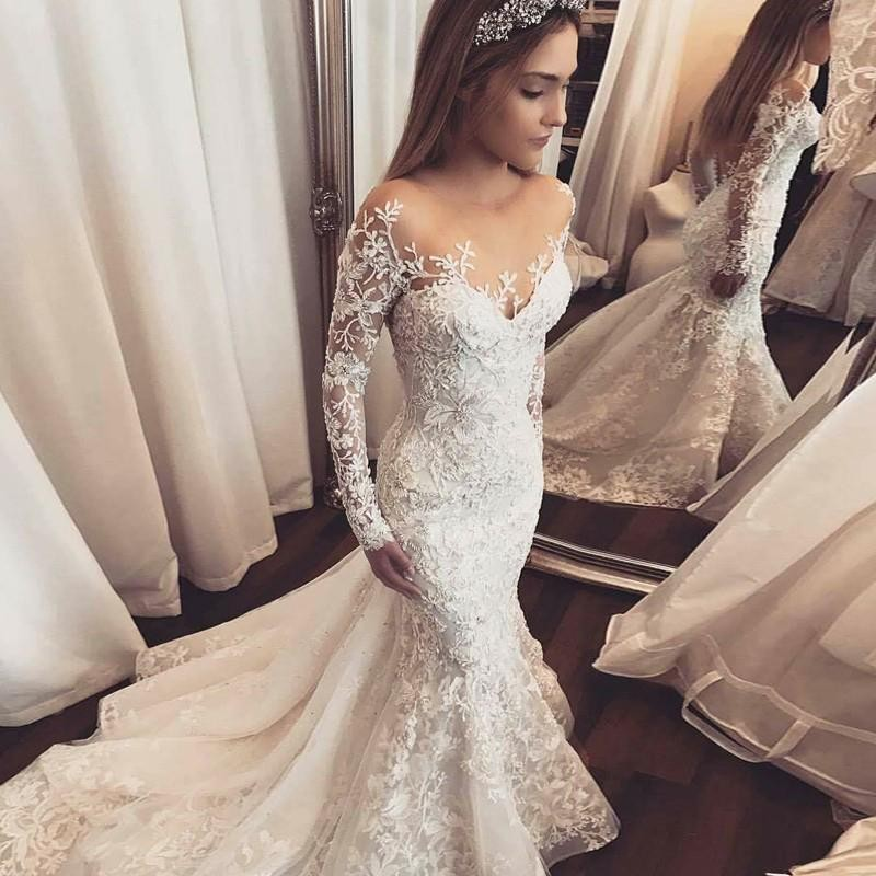 Wedding Dress Mermaid Illusion Bateau Long Sleeves Tulle With Appliques For Wedding Party