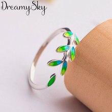 DreamySky Bijoux 2019 prosty styl srebrny kolor liści pierścienie dla kobiet prezenty duże regulowane pierścienie