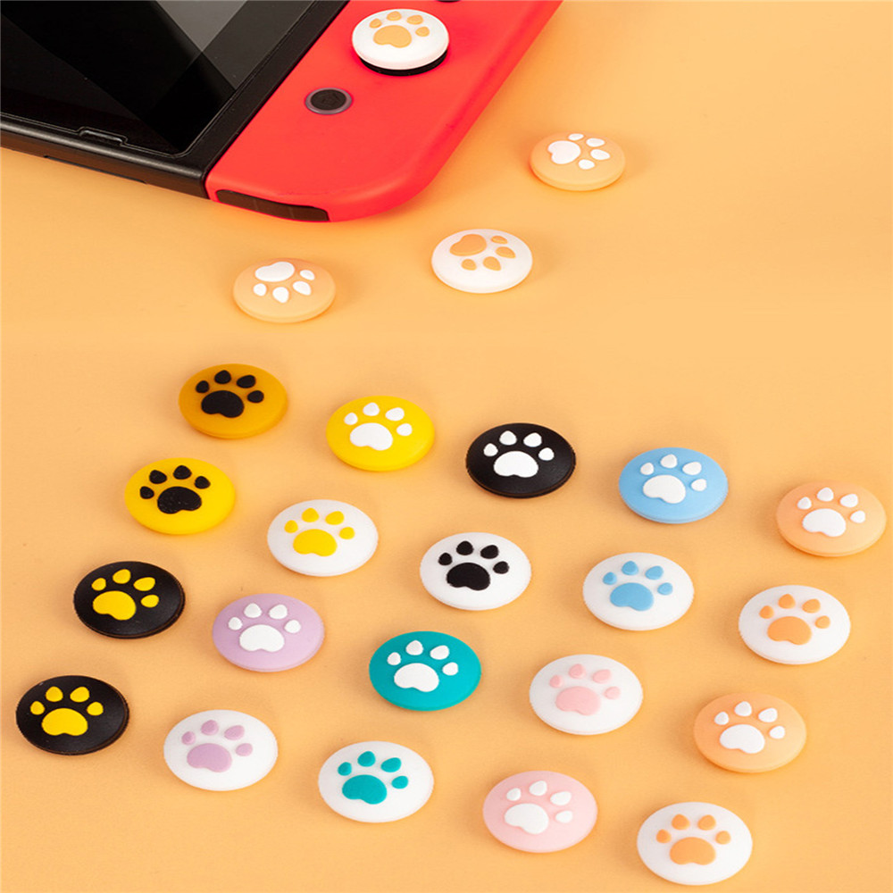 Cute Cartoon Cat Paw Thumb Grips Cover For Nintend Switch/ Lite Game Controller Accessories Silicone Joystick Rocker Cap Kit
