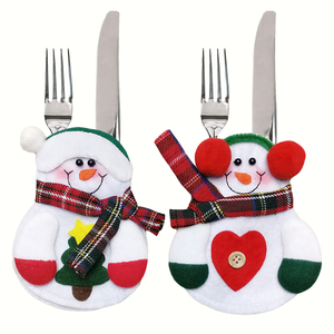 Image 5 - Держатель для столовой посуды в виде кармана, Рождественское украшение, праздничные украшения в виде снеговика, Санта, эльфа, оленя, бесплатная доставка