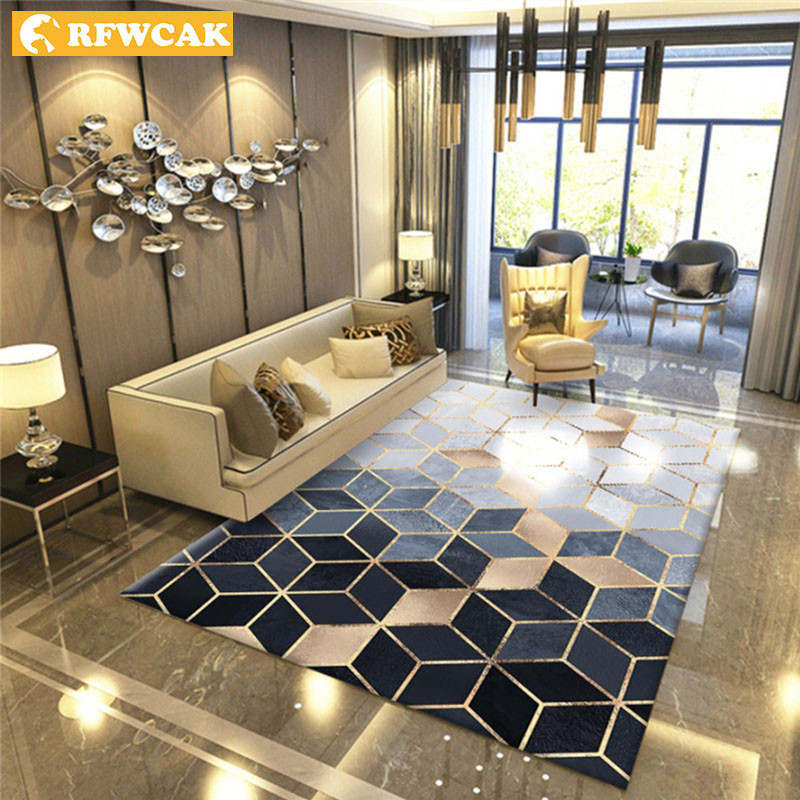 RFWCAK Nordic Geometric Carpet For Living Room Bedroom Anti-slip Large Rug Floor Mat Yoga Tapete Sala Area Rugs Decoration Home