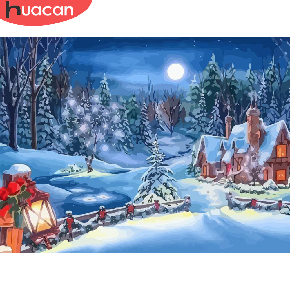 HUACAN DIY Paint By Number Christmas Landscape HandPainted Kits Drawing Canvas Pictures Winter Scenery Decor Oil Painting Snow