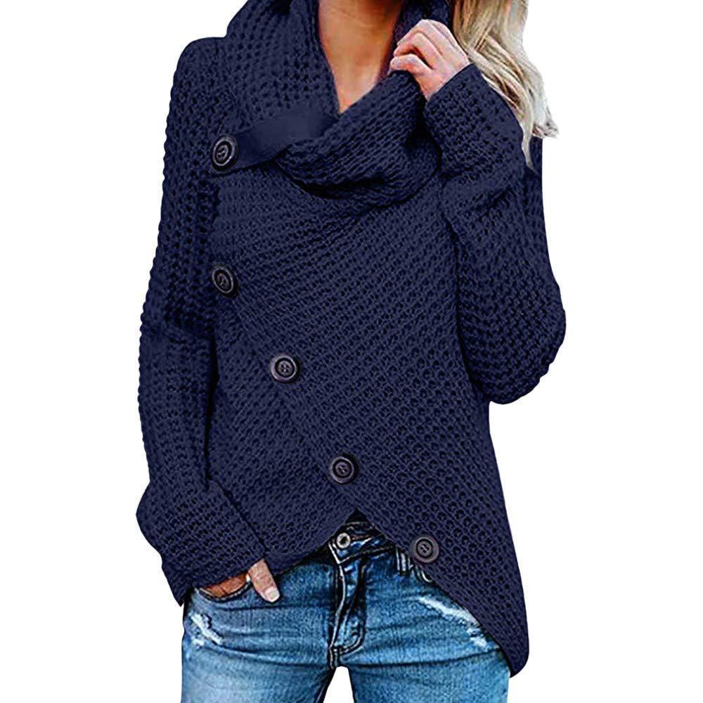 WEPBEL 7 Color Women's Wrap Pullover Sweater Cowl Neck Asymmetric Hem Chunky Button Turtle Plus Size S-5XL