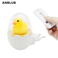 ANBLUB EU 플러그 옐로우 오리 LED 야간 조명 센서 제어 디 밍이 가능한 벽 램프 원격 제어 홈 침실 아기 어린이 키즈
