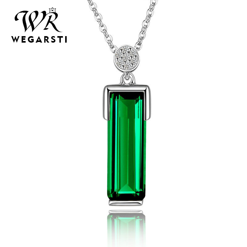 WEGERSTI 925 Silver Jewelry New Unique Emerald Necklace Jewelry For Women Rose Gold Color Wedding Anniversary Banquet Best Gifts