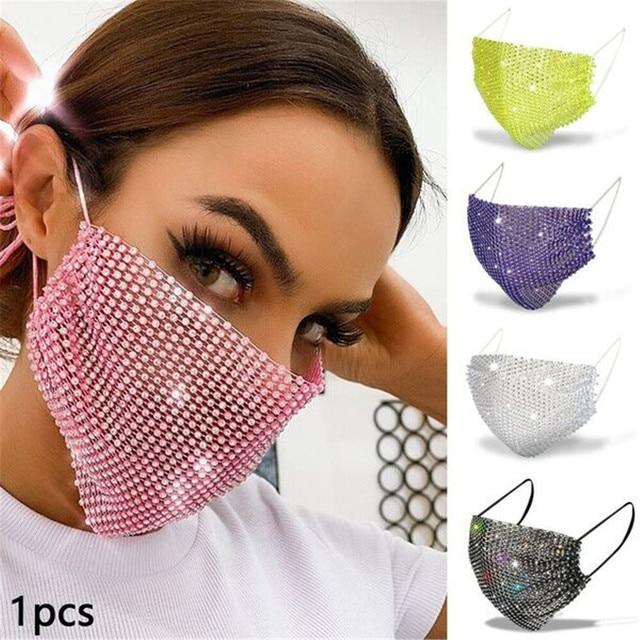 2020 Rhinestone Grid Masks Rhinestone Accessories Masks Makeup Party Fashion Masks Chic Ball Mask  Kpop Mask  Blackpink Kpop