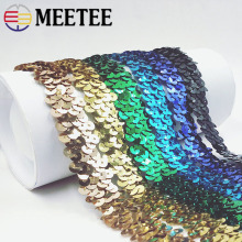 25Yards Sequins Lace Fabric Ribbons Gold Silver Elastic Lace Trims Stretch Dance Dress Paillette Applique DIY Sewing Accessories
