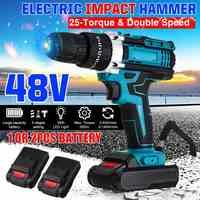 48V 2-Speed Akku-bohrschrauber Elektrische Schraubendreher 25 + 3 Drehmoment Auswirkungen Bohrer Wireless Power Fahrer + 1/2 stücke DC Lithium-Ionen Batterie