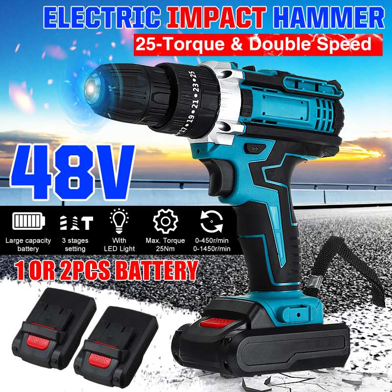 48V 2-Speed Cordless Drill Electric Screwdriver 25+3 Torque Impact Drill Wireless Power Driver + 1/2pcs DC Lithium-Ion Battery