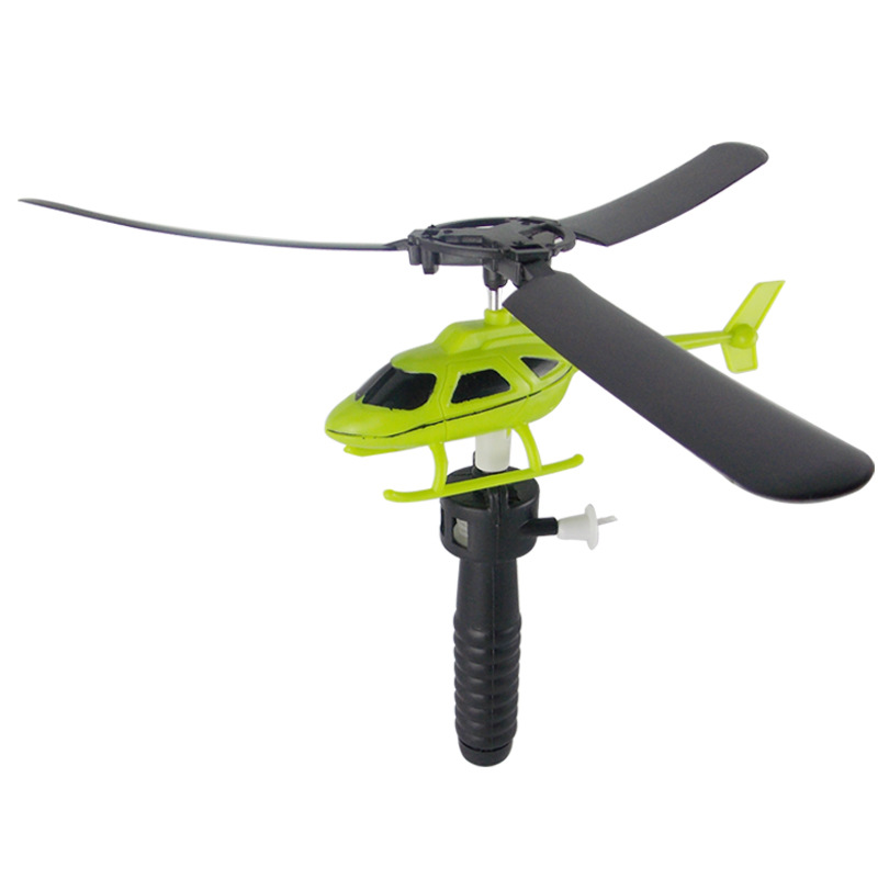 Mini Helicopter Educational Toys Helicopter Flying Pull Rope For Children's Gifts Outdoor Games With Launcher Random Color