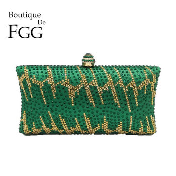Boutique De FGG Green Rhinestones Women Clutches Evening Bags Hard Case Wedding Party Ladies Purses and Handbags Luxury Designer elegant hard box clutch silk satin dark green evening bags for matching shoes and womens wedding prom evening party bags