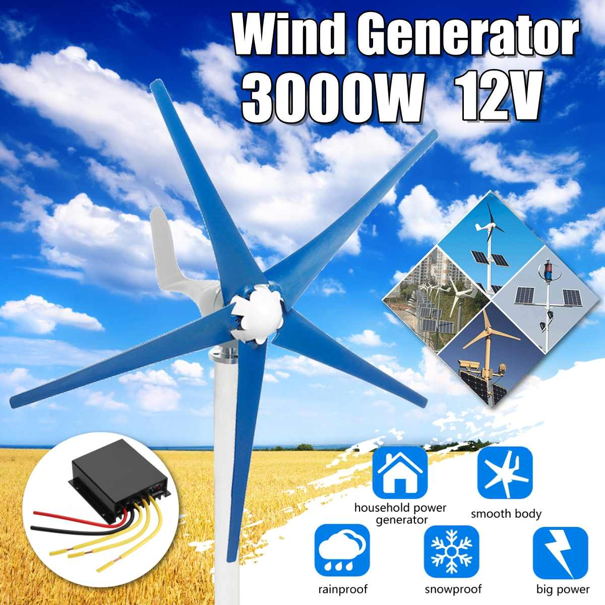 3000W 12/24/48V Horizontal-Axis 5-Blades Wind Turbines Generator 3-Phase AC Permanent-Magnet Synchronous power Supply Generator