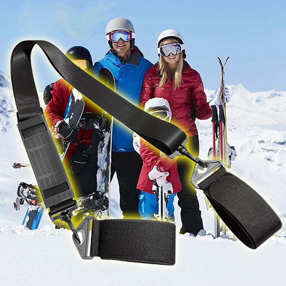 Adjustable Winter Snowboard Skiing Pole Fixing Strap Shoulder Hand Carrier Strap Hook Loop Lash Nylon Ski Board Handle Straps