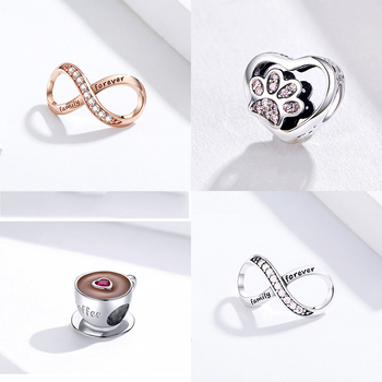 цена на Charms Real Sterling Silver 925 Infinity  Family Forever Clear Crystal Charm For Original 925 Brand Bracelet
